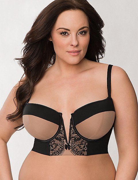 Plus Size Lace Long Line Demi Bra by Cacique | Lane Bryant
