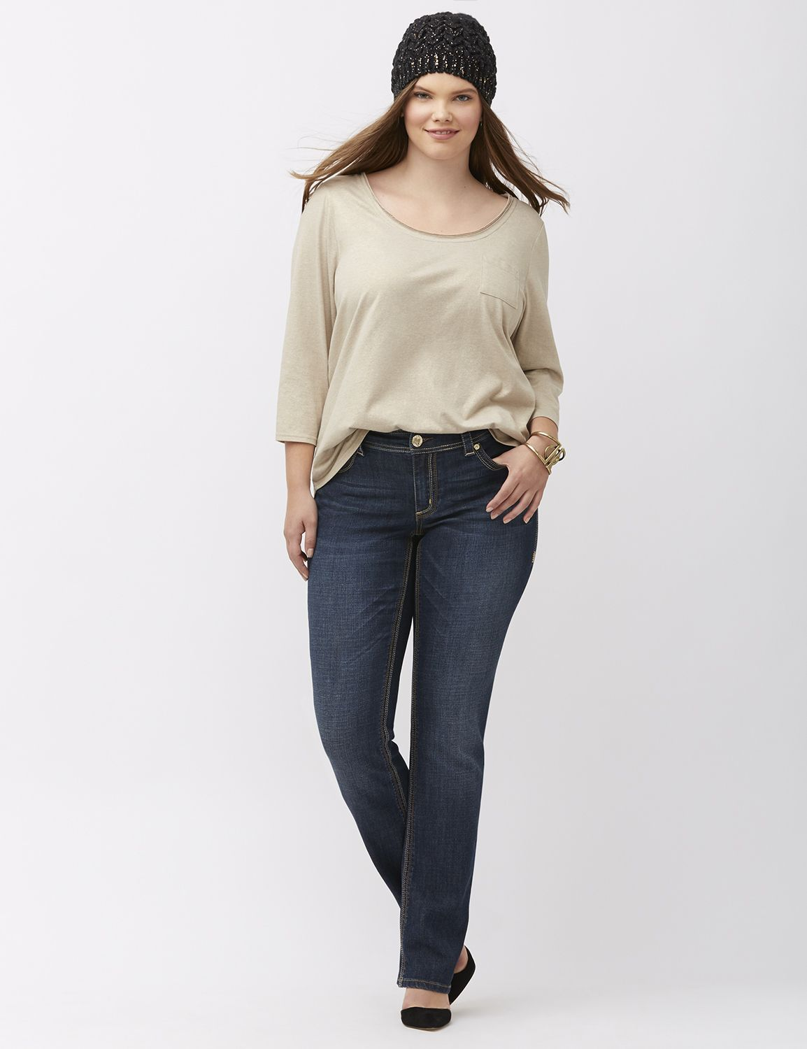 Lane Bryant Womens Straight Leg Jean By Melissa Mccarthy Seven7 24 Dark Wash