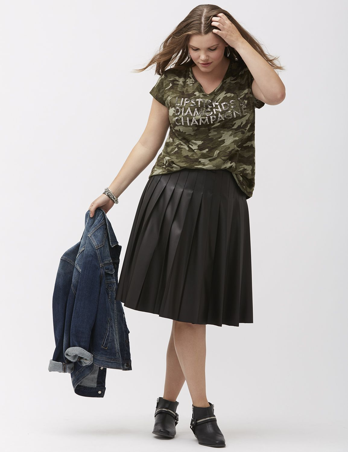 Faux leather pleated skirt by Lane Bryant | Lane Bryant