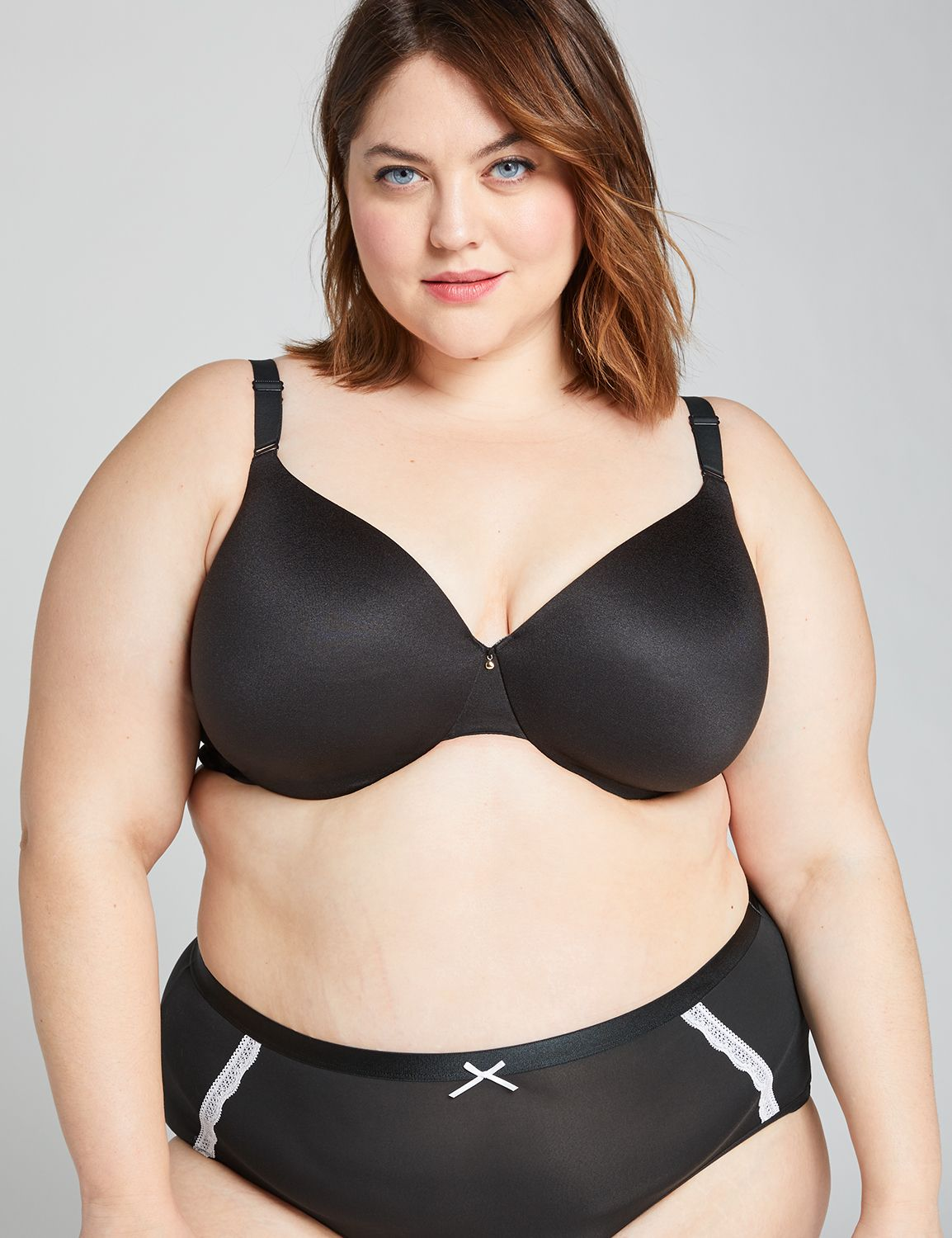 Lane Bryant Womens Invisible Backsmoother Lightly Lined Full Coverage Bra 42C Black