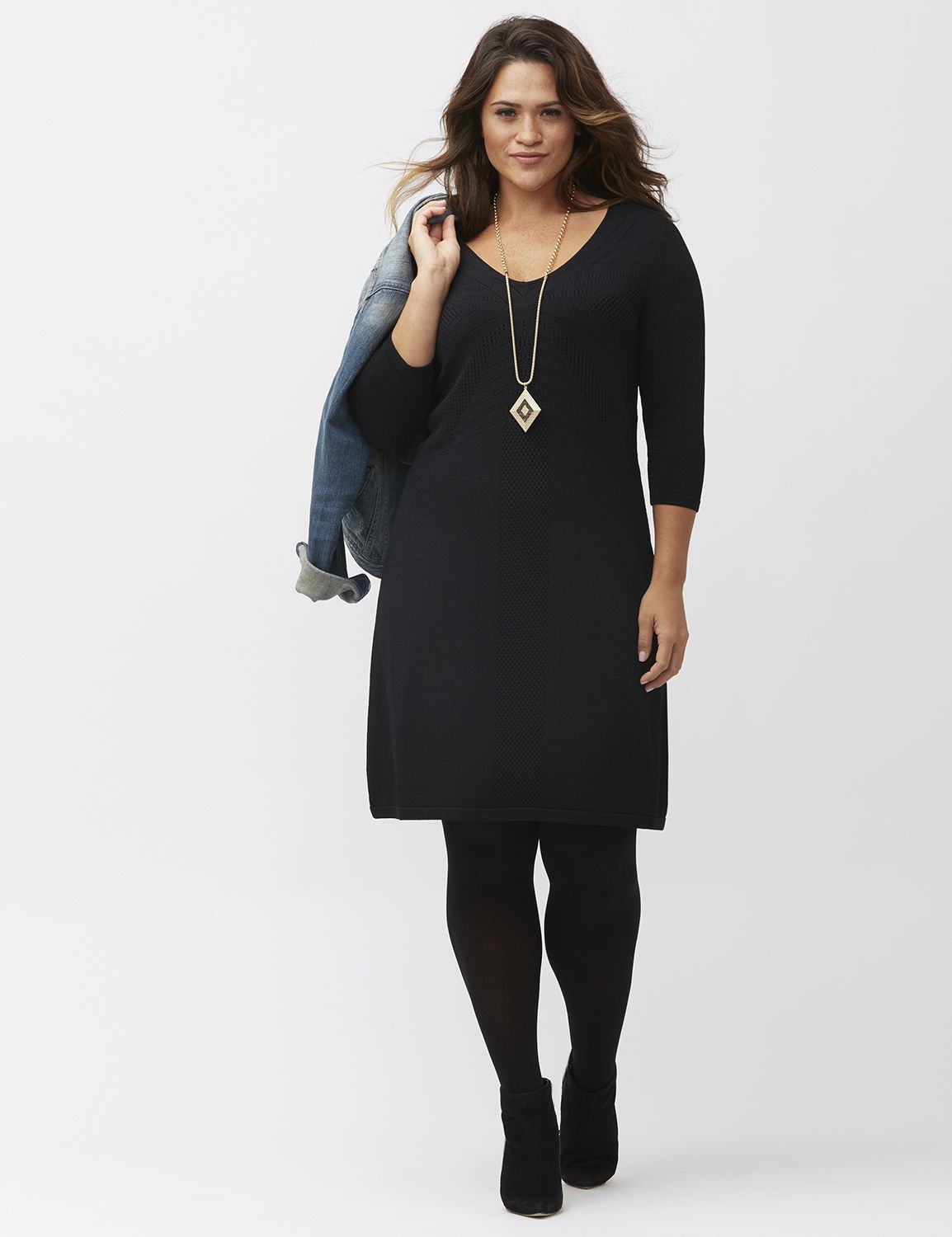 Pointelle A-line sweater dress by Lane Bryant | Lane Bryant