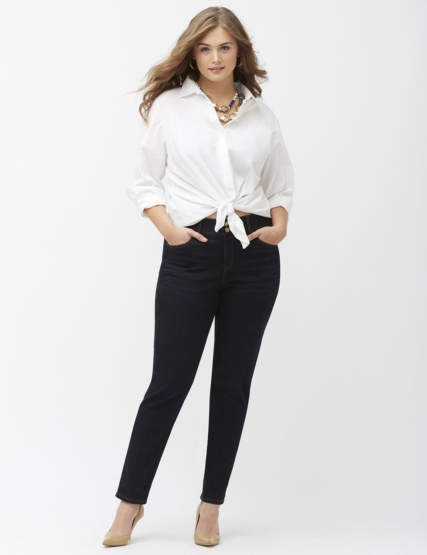 Lane Bryant Womens Straight Leg Jean With Tighter Tummy Technology 20 Dark Wash