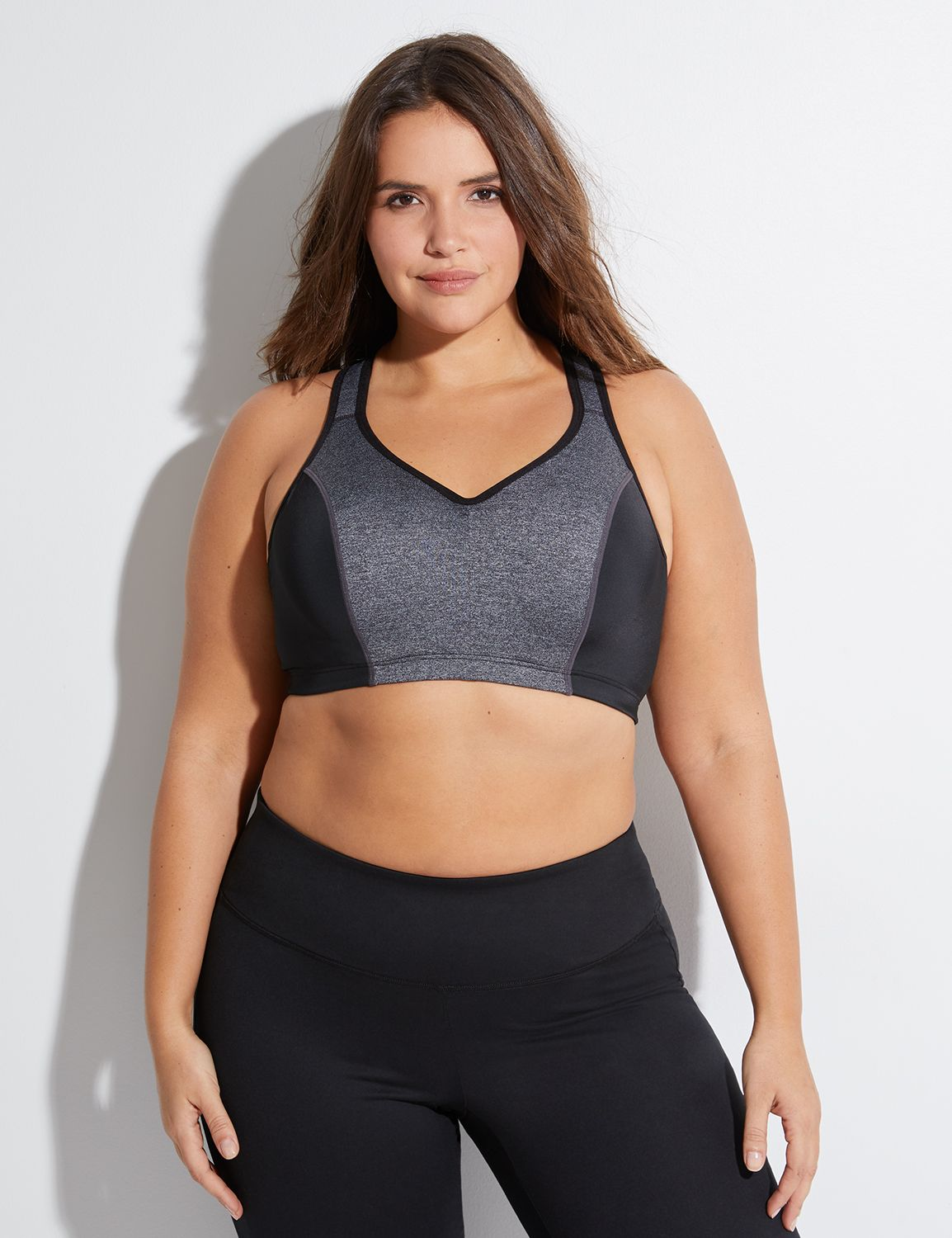 Lane Bryant Womens High-Impact Molded Underwire Sport Bra 44F Black And Marl Grey