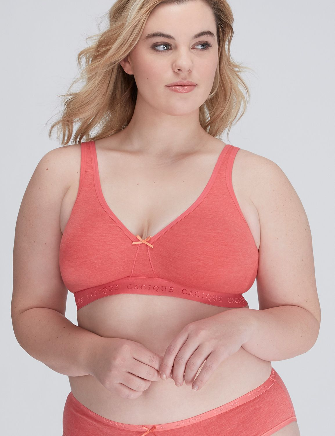 Lane Bryant Womens Cotton No Wire Bra 42C Paradise Pink