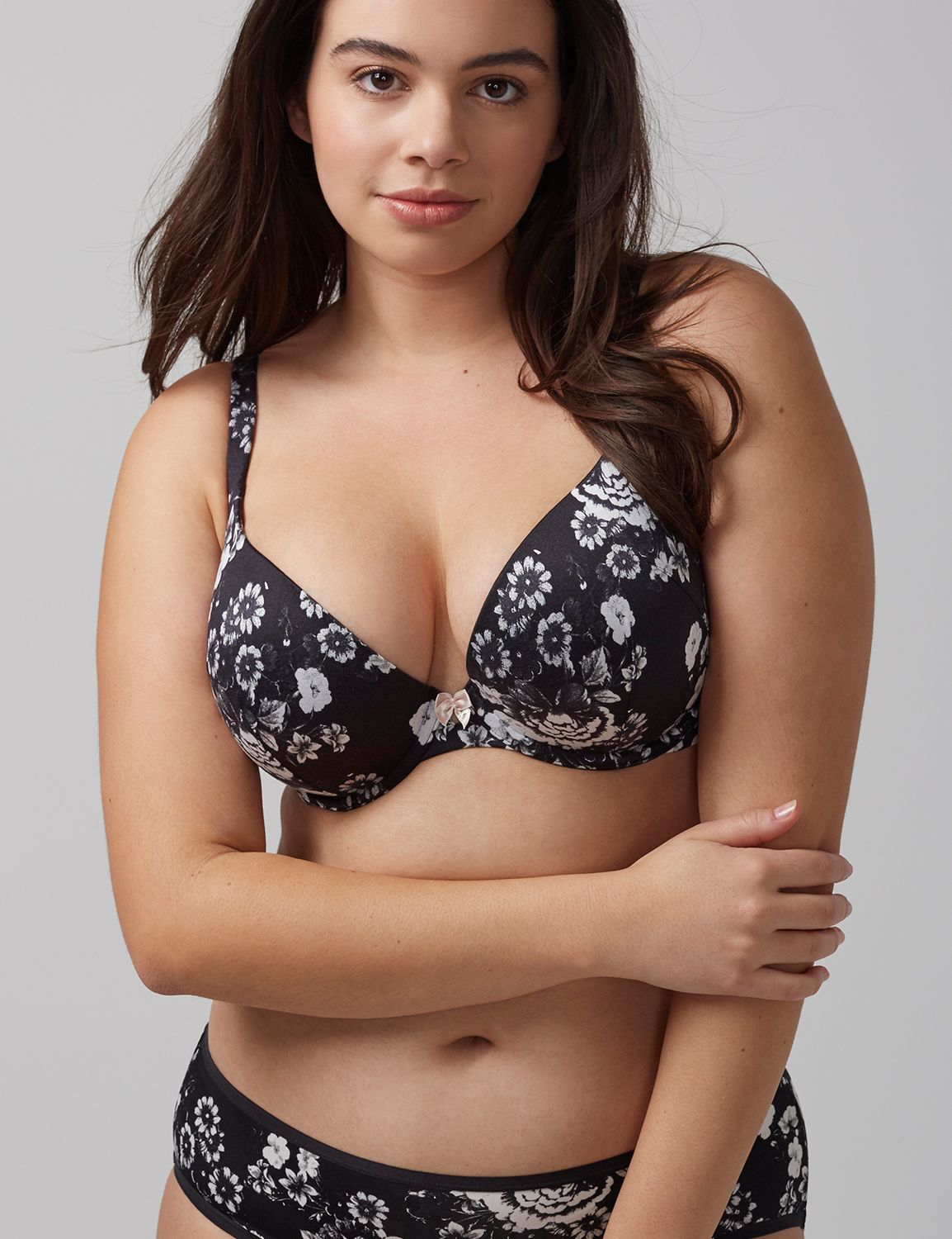 Lane Bryant Womens Intuition Uplift Plunge Bra 40G Sophisticated Floral