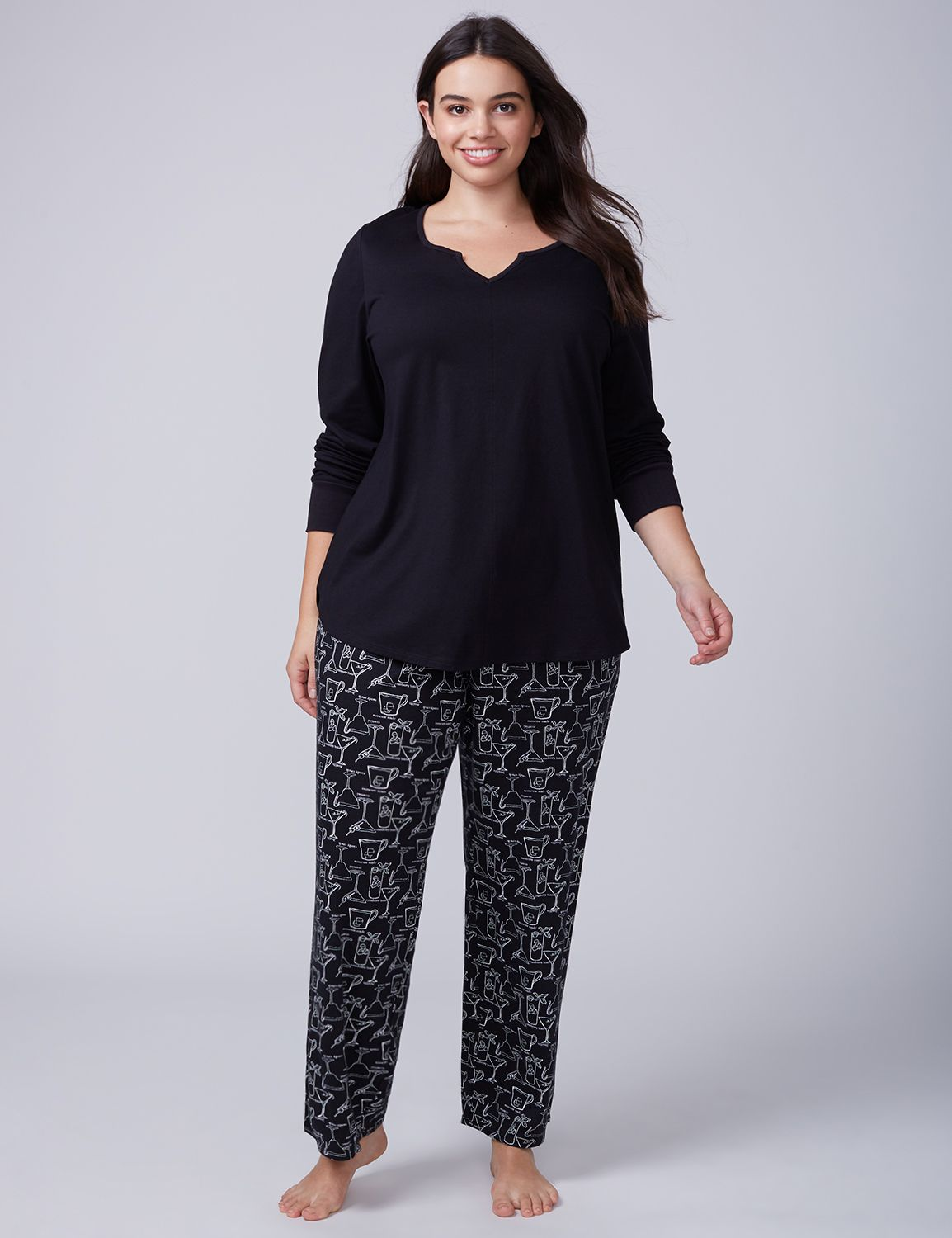 Lane Bryant Womens Festive Drinks Notch-Neck Tee & Pant Pj Set 14/16 Festive Drinks