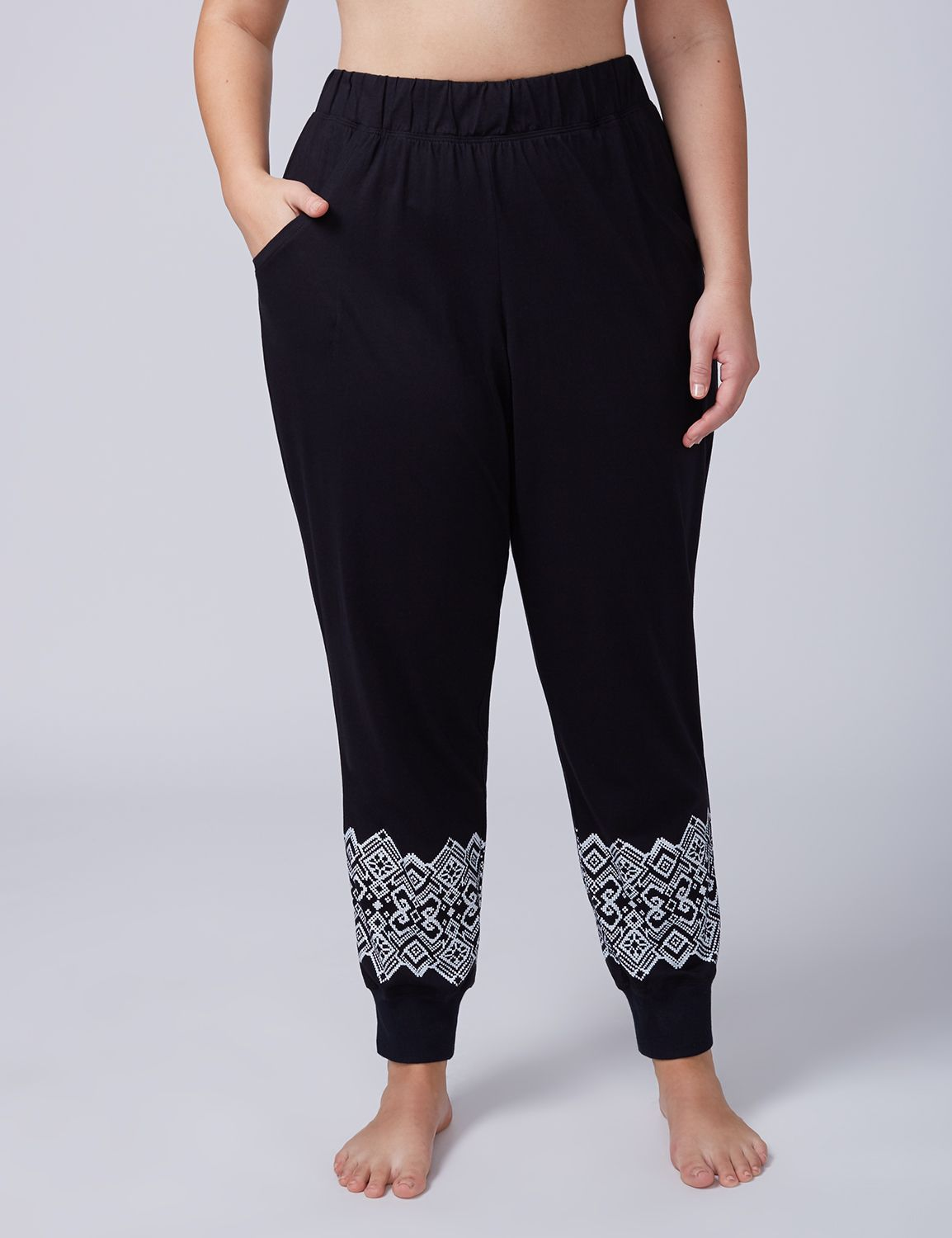 Lane Bryant Womens Jogger Sleep Pant With Winter Border Print 18/20 Winter Border