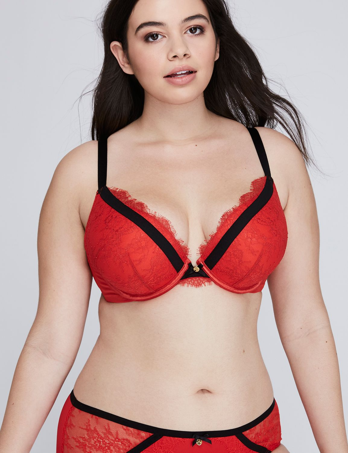 Lane Bryant Women's Boost Plunge Bra With Eyelash Lace & Contrast Bands 36DD Mars Red
