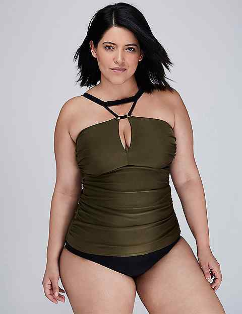 Shimmer Swim Tankini Top with Built-In No-Wire Bra | Lane Bryant