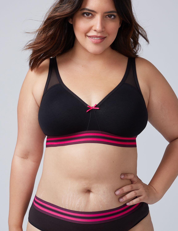 Lane Bryant Womens Cotton Unlined No-Wire Bra 46D Black & Pink