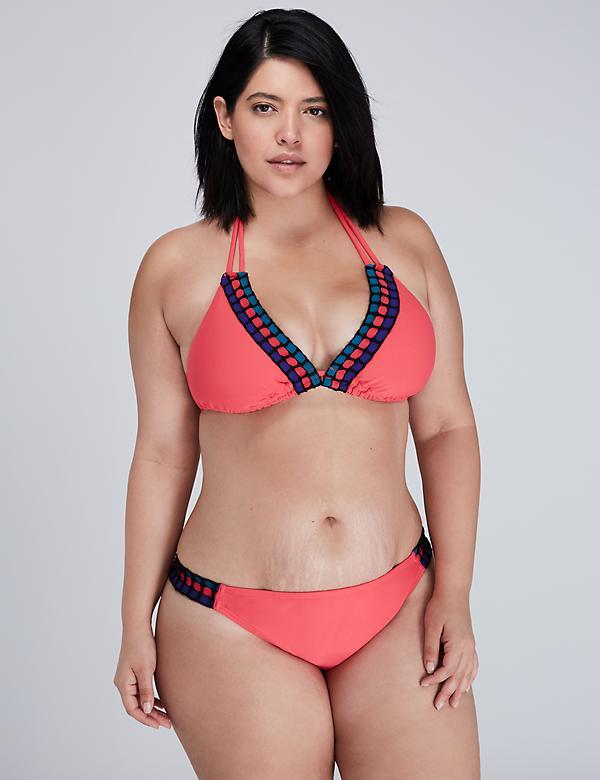 Crochet Trim Triangle String Bikini Top