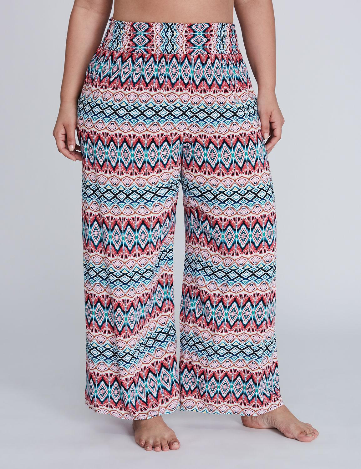 Lane Bryant Women's Woven Cover - Up Beach Pant 26 / 28 Vibrant Lines