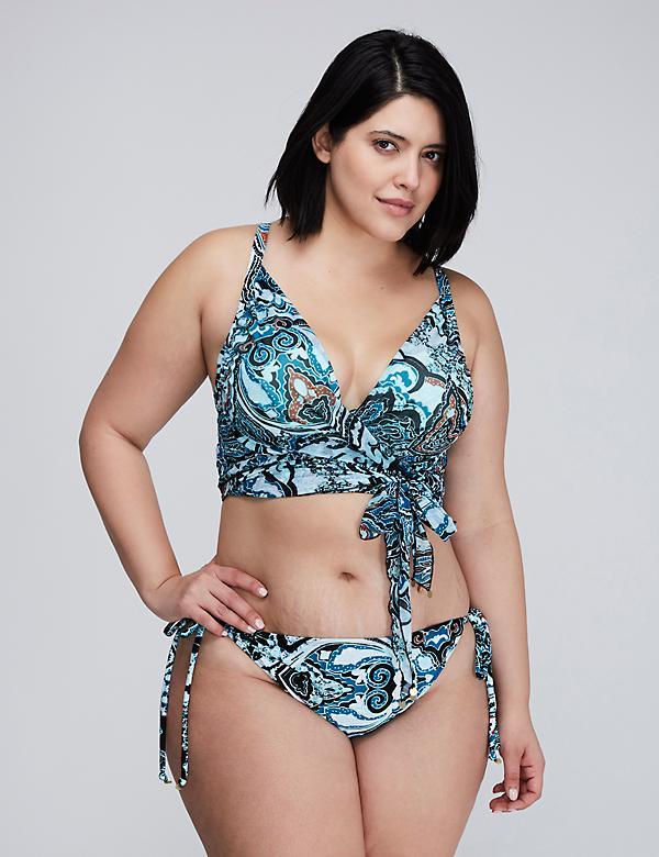 Longline Wrap Bikini Top with Built-In Plunge Bra