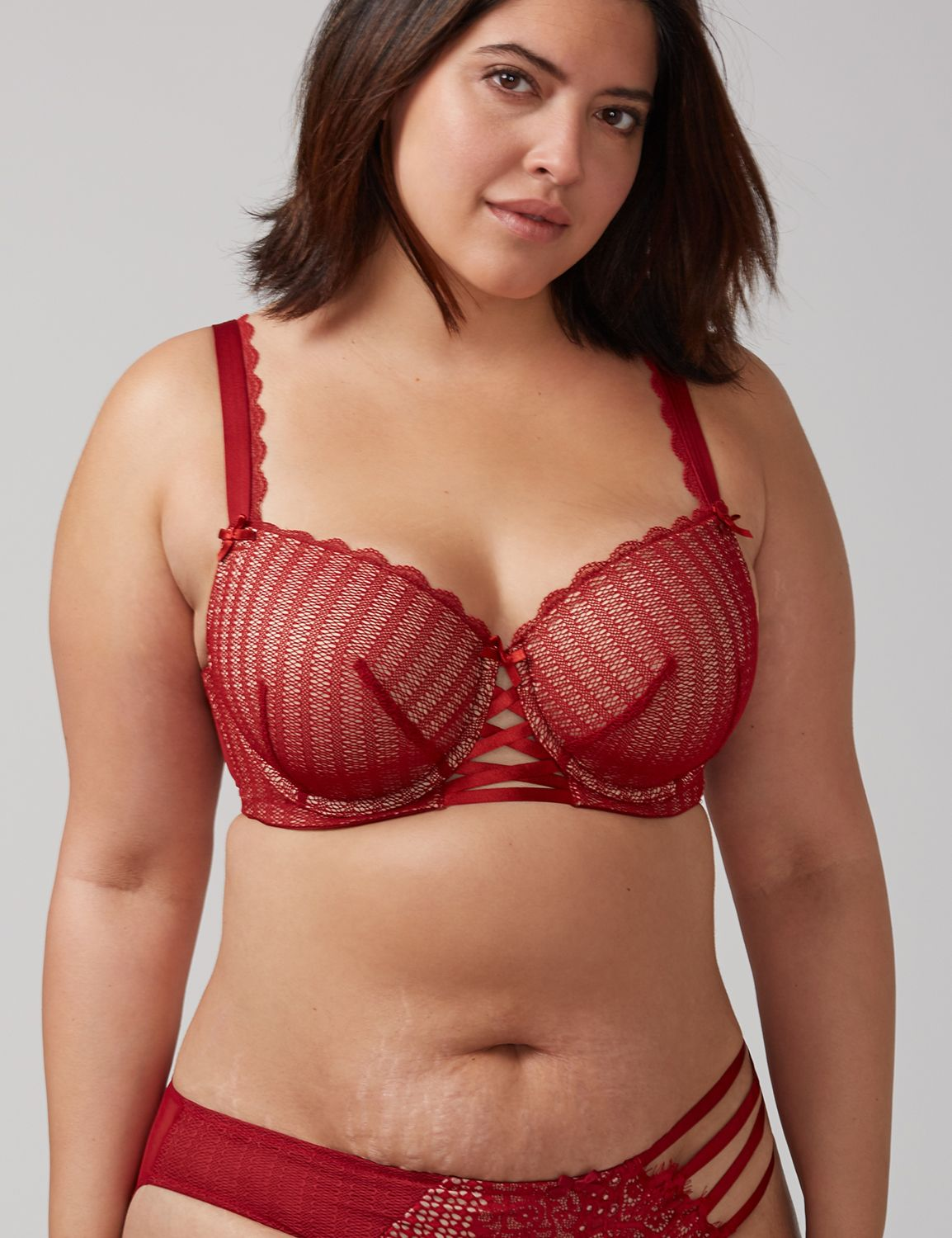 Lane Bryant Women's Lace-Up Lightly Lined Balconette Bra With Mesh Overlay 40D Cranberry Spice