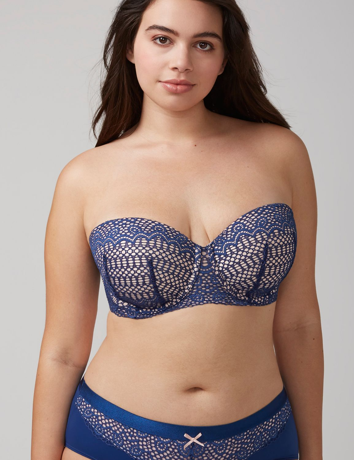 Lane Bryant Womens Lightweight Multi-Way Strapless Bra 36C Estate Blue