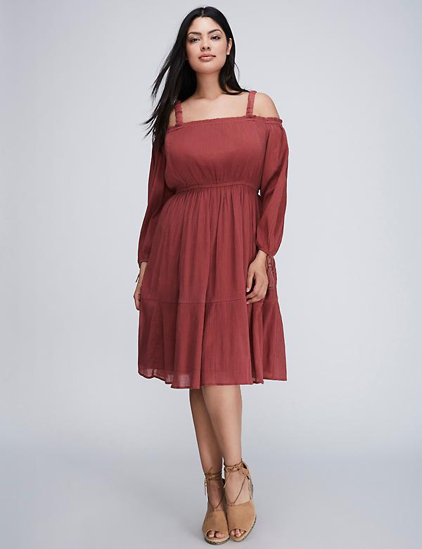 Gauze Off-the-Shoulder Fit & Flare Dress