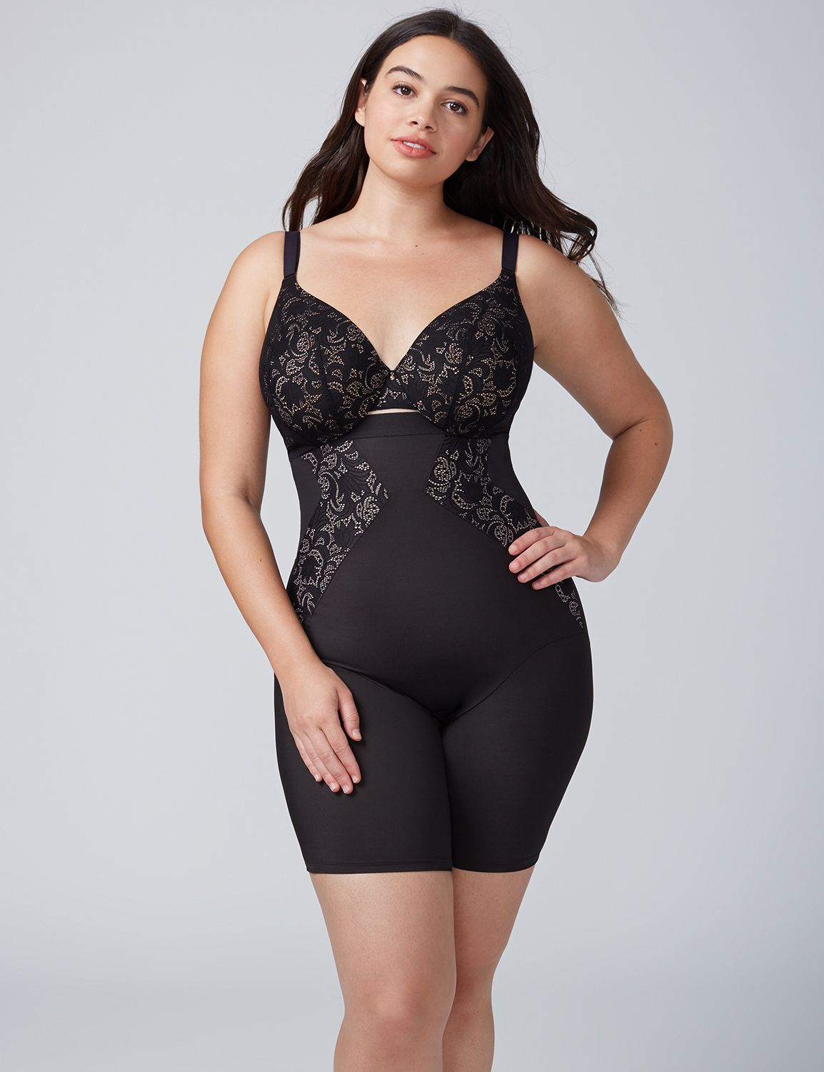Lane Bryant Womens Shape By Cacique High-Waist Thigh Shaper With Lace 14/16 Black