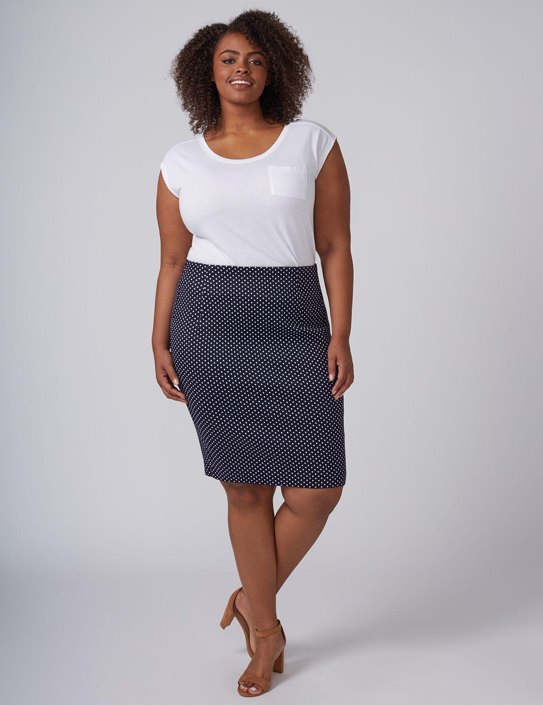 Lane Bryant Womens Dot Pencil Skirt 18 New Navy