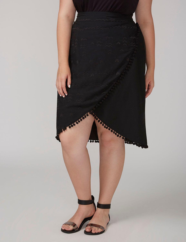 Lane Bryant Womens Fast Lane Faux Wrap Skirt 14 Black