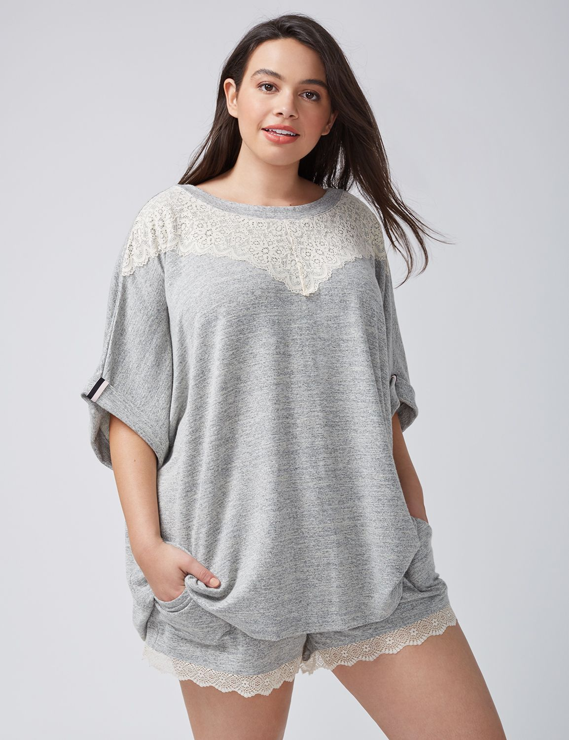 Lane Bryant Womens Lace-Trim Marled Sleep Tee 26/28 Heather Grey