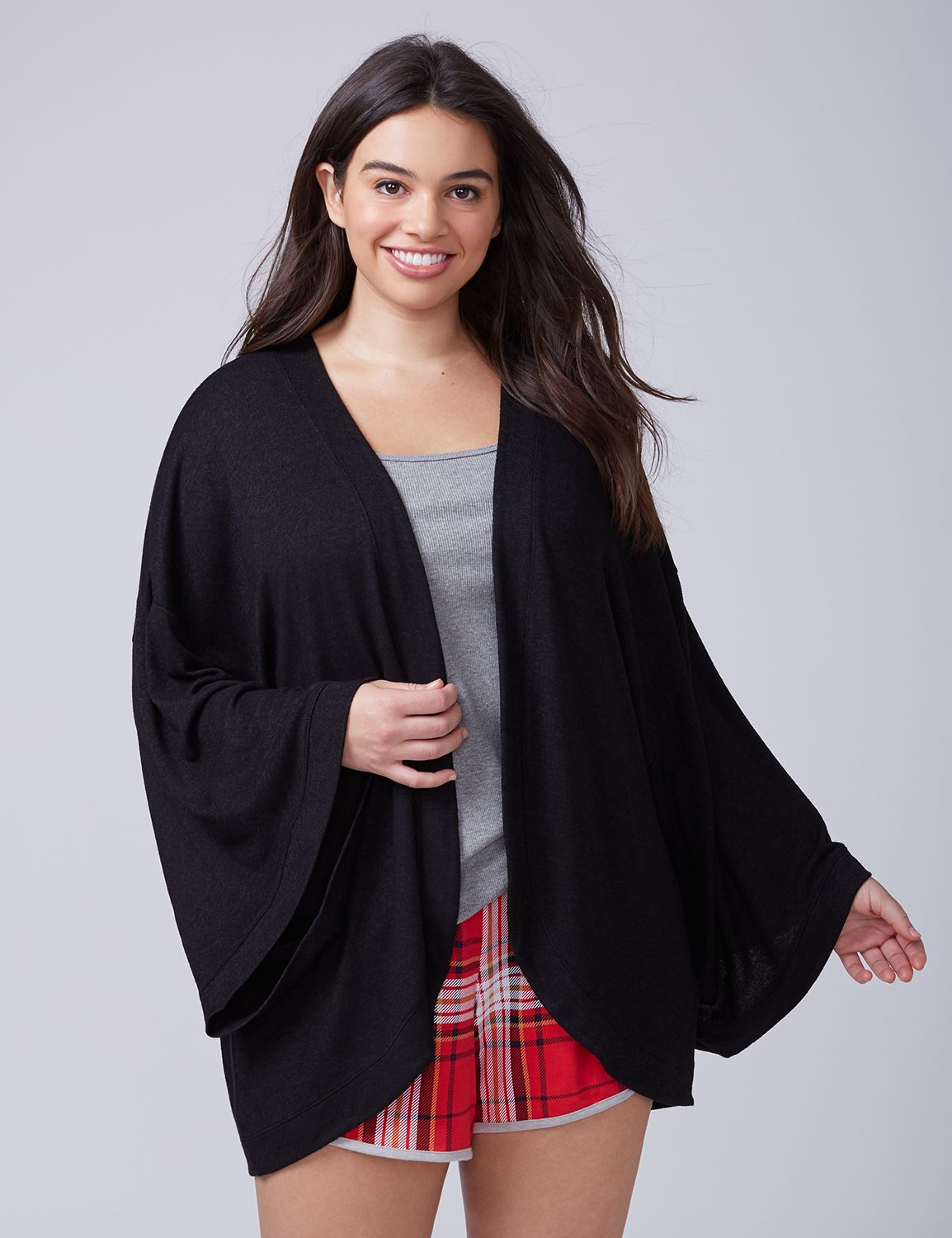 Lane Bryant Womens Brushed Jersey Kimono-Sleeve Wrap 26/28 Black
