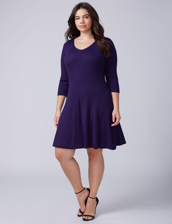 Lane Bryant Womens 3/4-Sleeve Fit & Flare Sweater Dress 14/16 Damask Purple