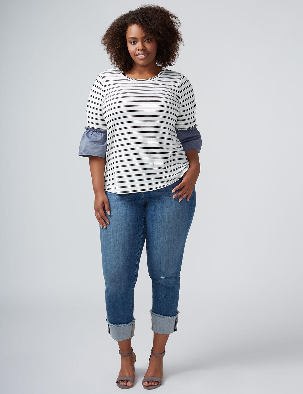 Lane Bryant Womens Straight Leg Crop Jean With Wide Cuff 12 Medium Wash