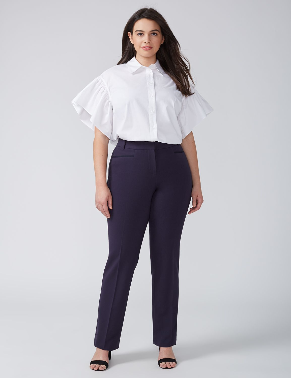 Lane Bryant Womens Lena Tailored Stretch Straight Leg Pant With T3 Technology 26 Night Sky