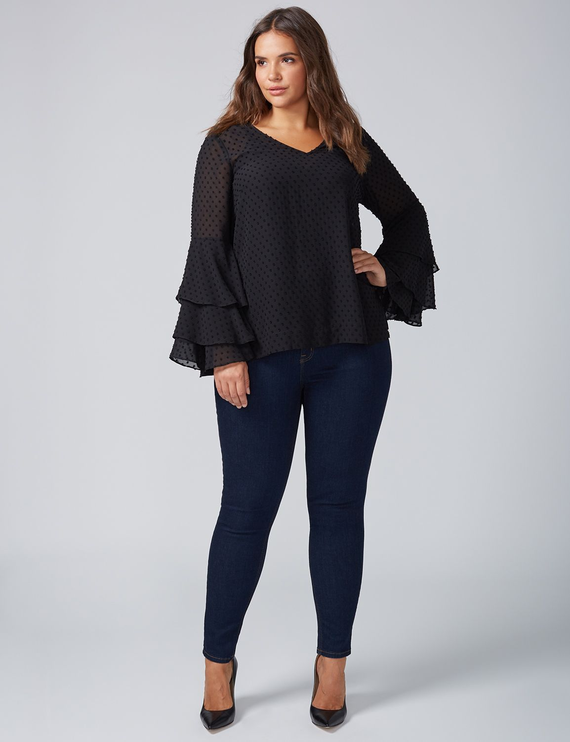 Lane Bryant Women S Tiered Bell Sleeve Top 26 28 Black