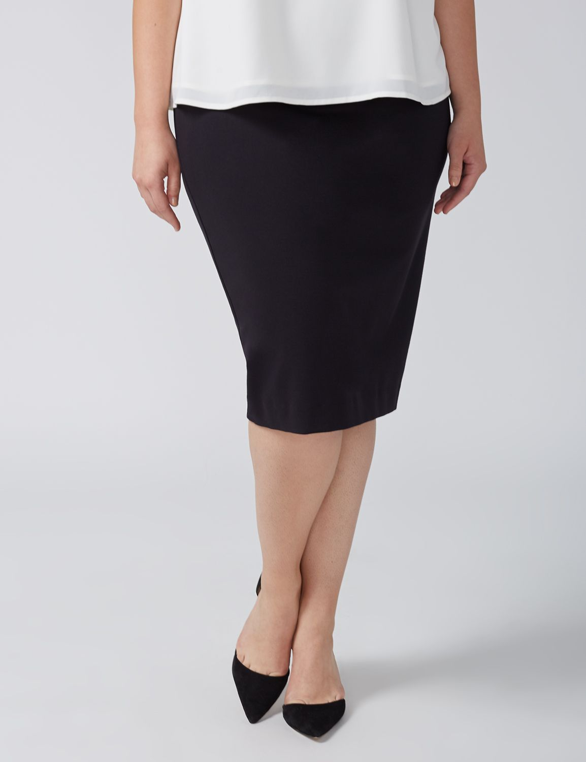 Lane Bryant Womens Ponte Pencil Skirt 28 Black