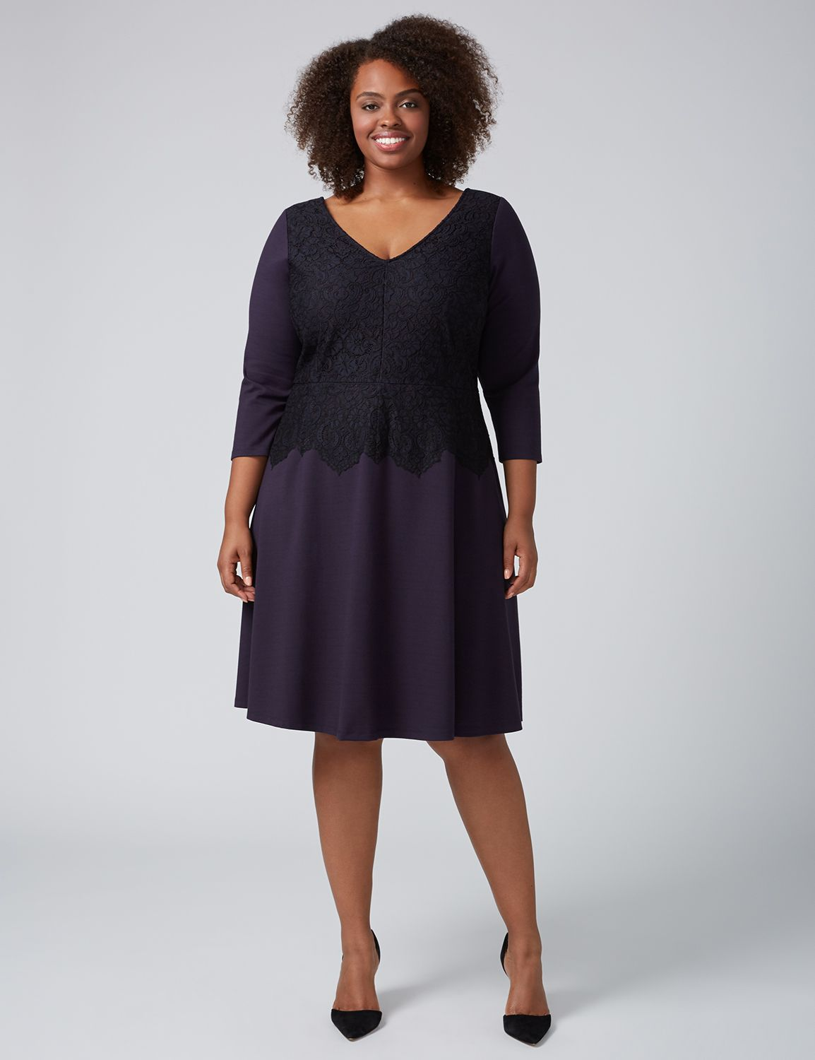 Lane Bryant Womens 3/4 Sleeve Fit & Flare Dress With Lace 12 Night Sky