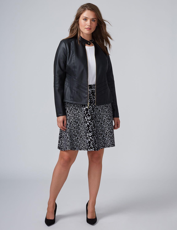 Lane Bryant Womens Animal Print Sweater Skirt 22/24 Black