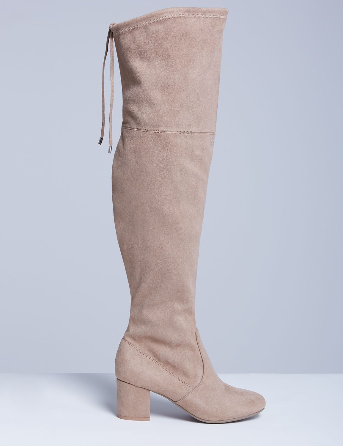 Lane Bryant Womens Over-The-Knee Boot With Low Block Heel 7W Taupe