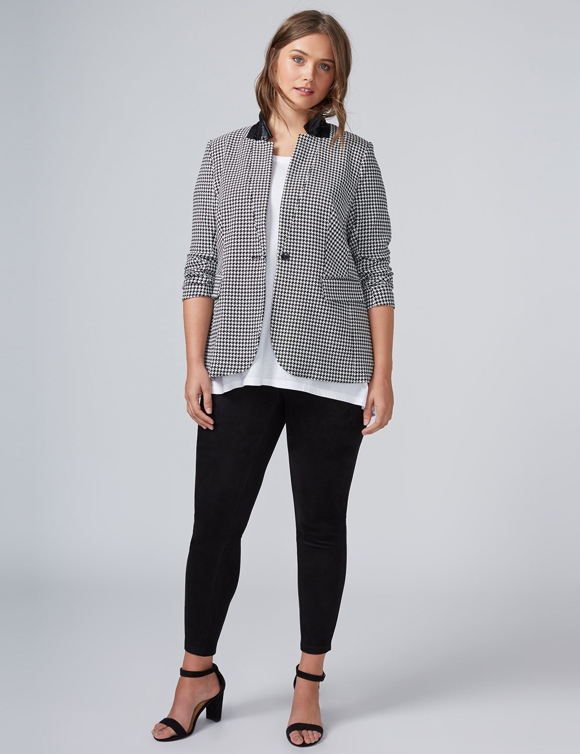 Lane Bryant Womens The Bryant Blazer - Houndstooth 16 Black Houndstooth Print