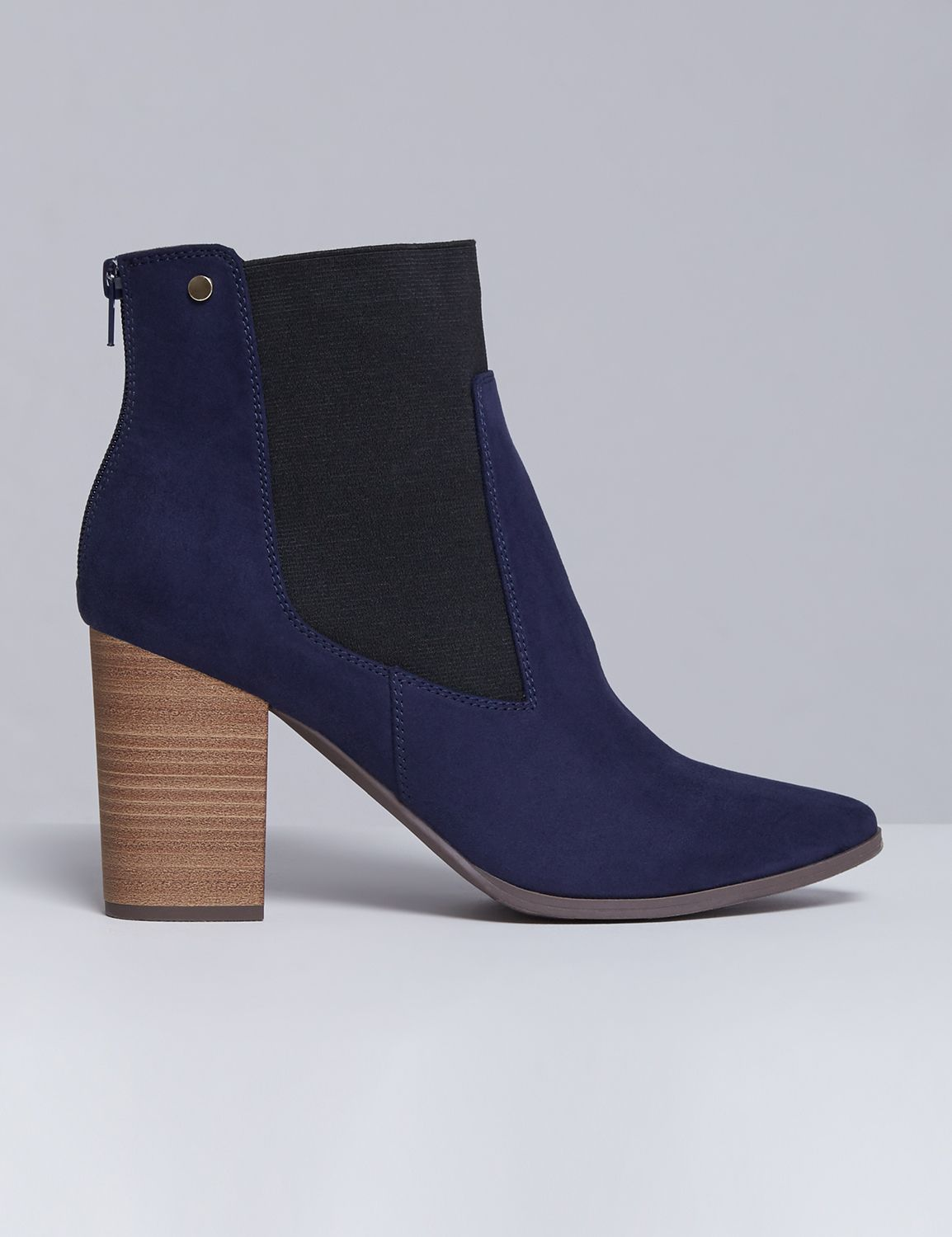 Lane Bryant Womens Faux Suede Ankle Boot With Block Heel 8W True Navy