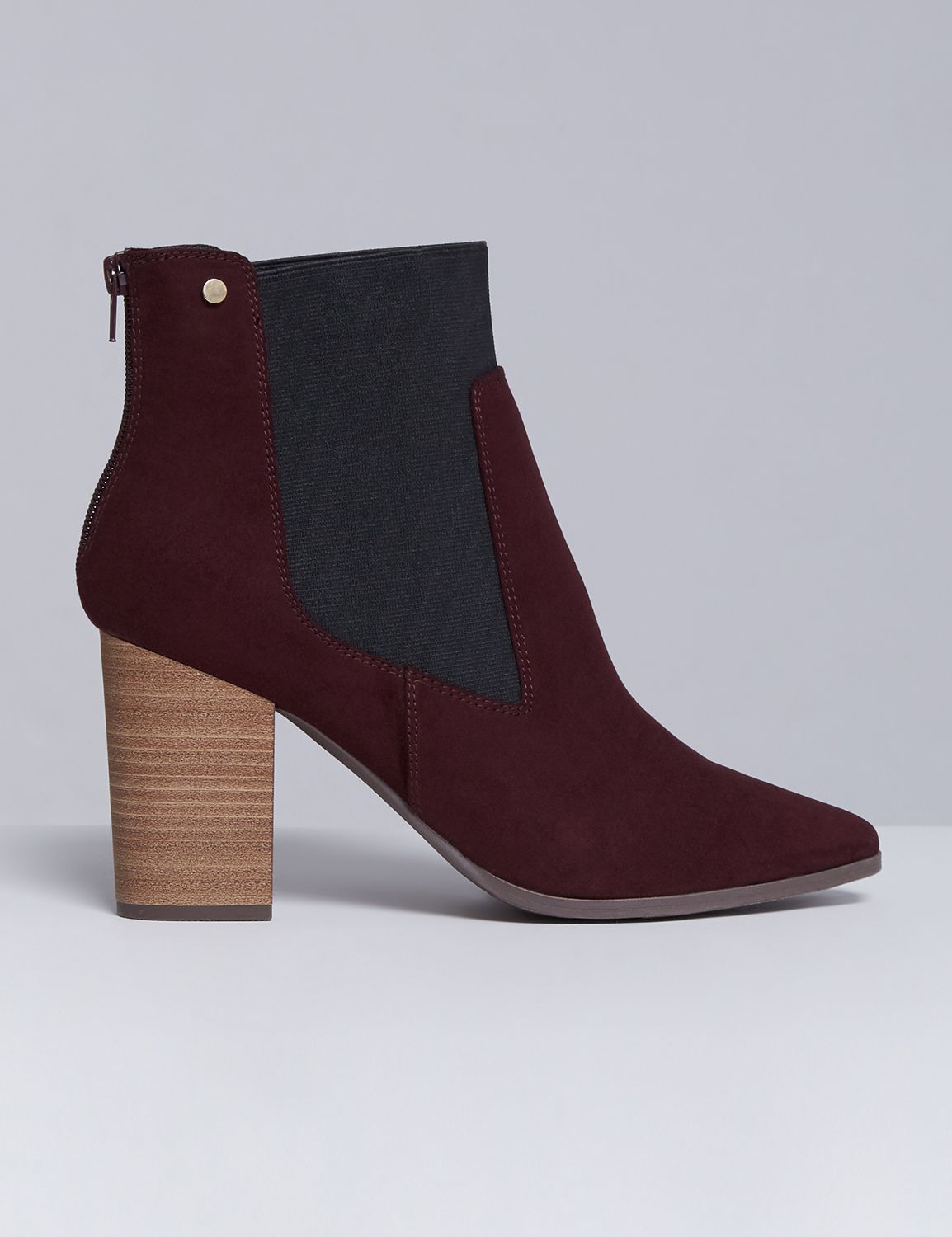 Lane Bryant Womens Faux Suede Ankle Boot With Block Heel 7W Cabernet