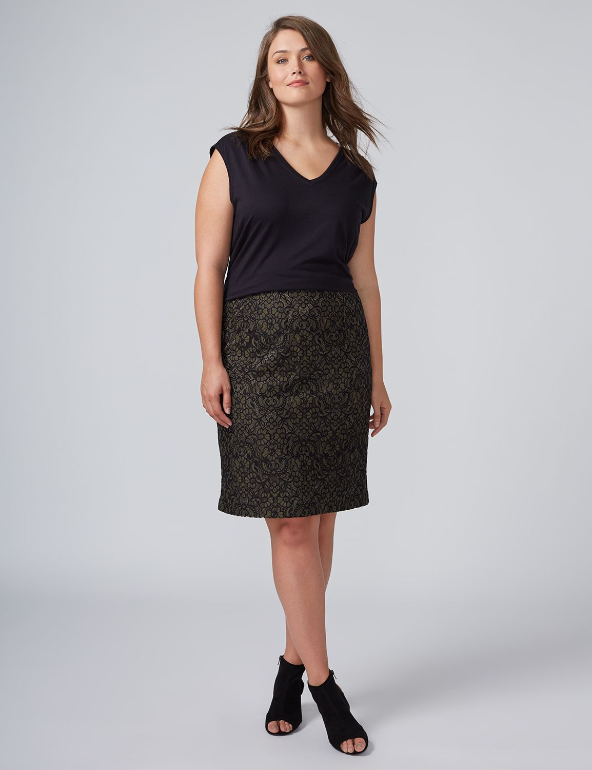 Lane Bryant Womens All-Over Lace Pencil Skirt 14 Dark Olive