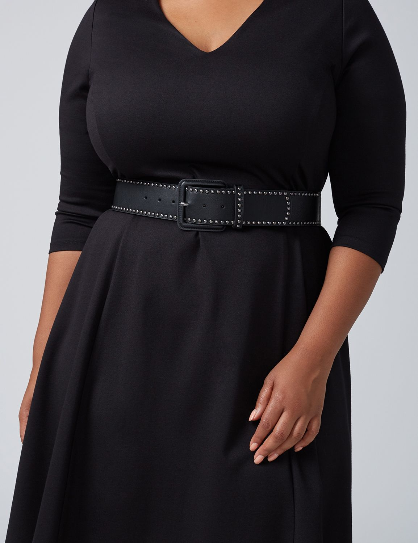 Lane Bryant Womens Studded Wide Stretch Belt 18/20 Black
