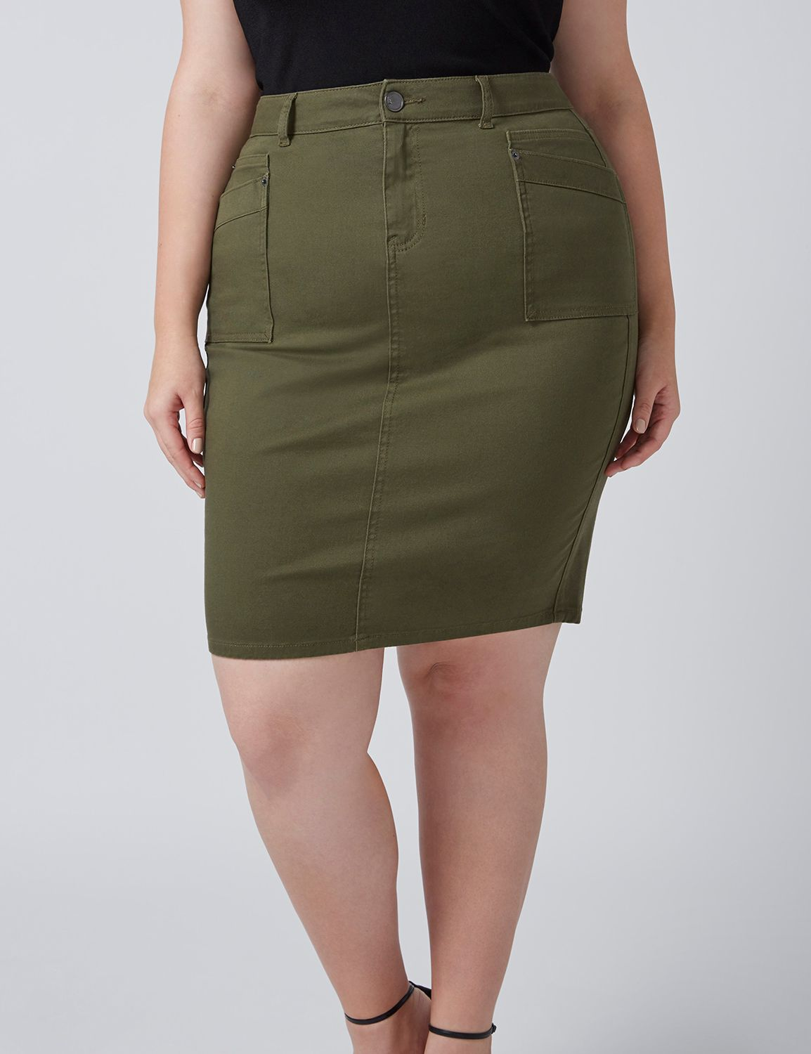 Lane Bryant Womens Fast Lane Patch Pocket Skirt 16 Ivy Green
