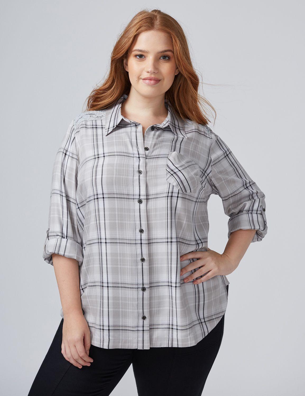Lane bryant women 39 s plaid tunic shirt 18 20p grey yarndye for Grey plaid shirt womens