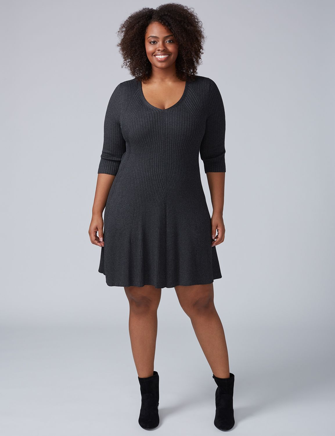 Lane Bryant Women's 3 / 4 - Sleeve Fit & Flare Sweater Dress 22 / 24 Dark Heather Grey