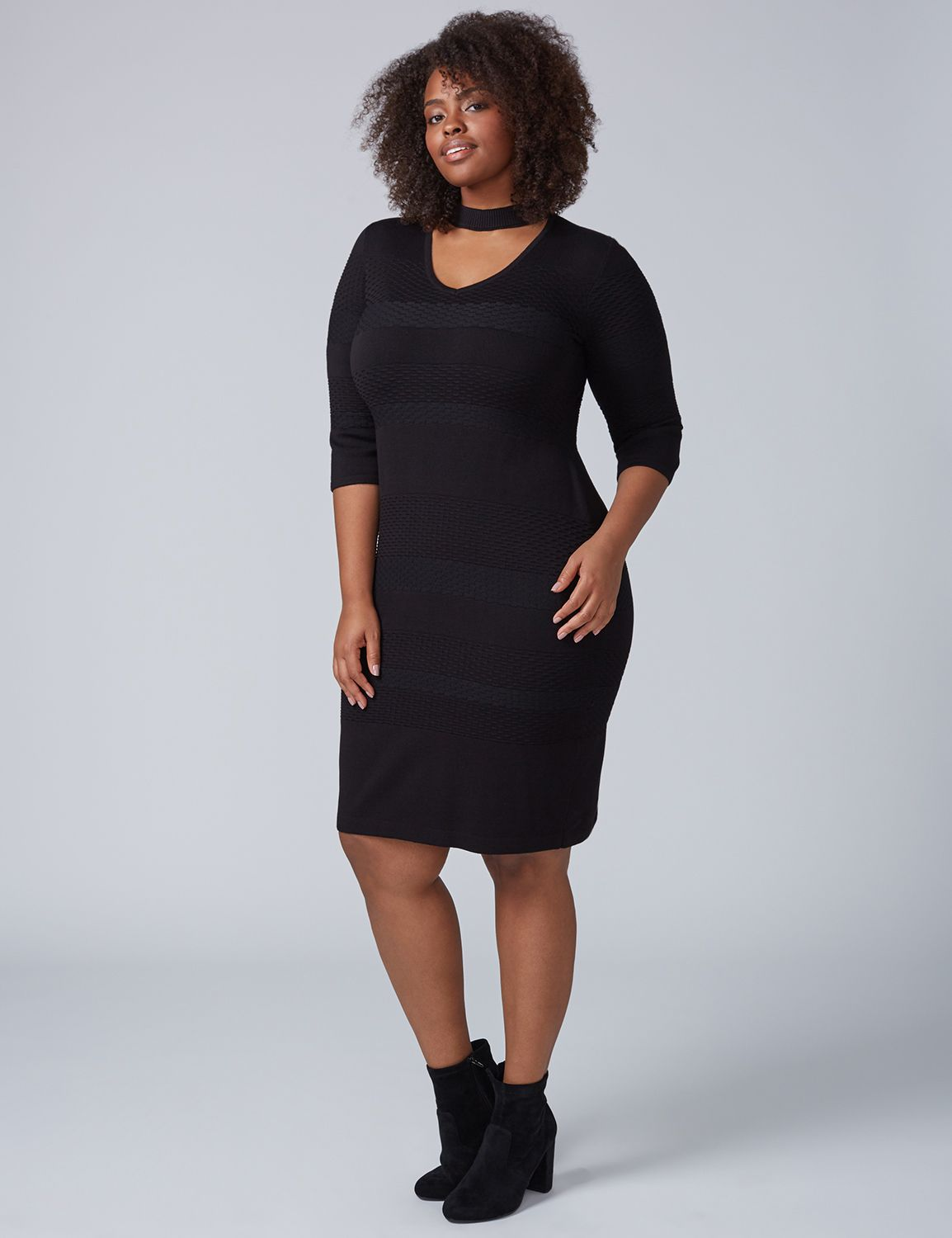 Lane Bryant Women's 3 / 4 Sleeve Choker Sweater Dress 18 / 20 Black