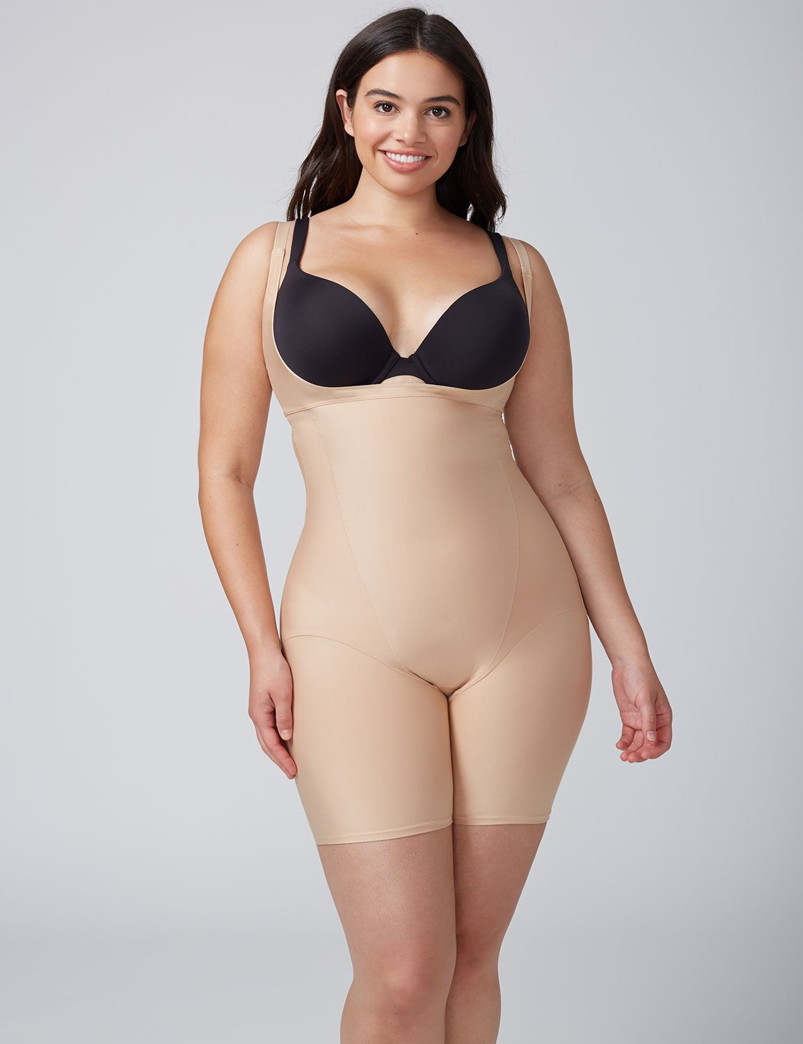Lane Bryant Womens Shape By Cacique Open-Bust Thigh Shaper 14/16 Cafe Mocha