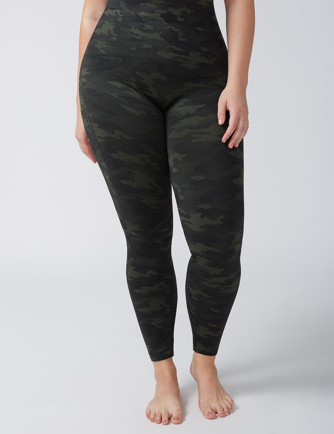 Lane Bryant Womens Spanx & Reg Look At Me Now Seamless Legging 1X Green Camo-Spanx