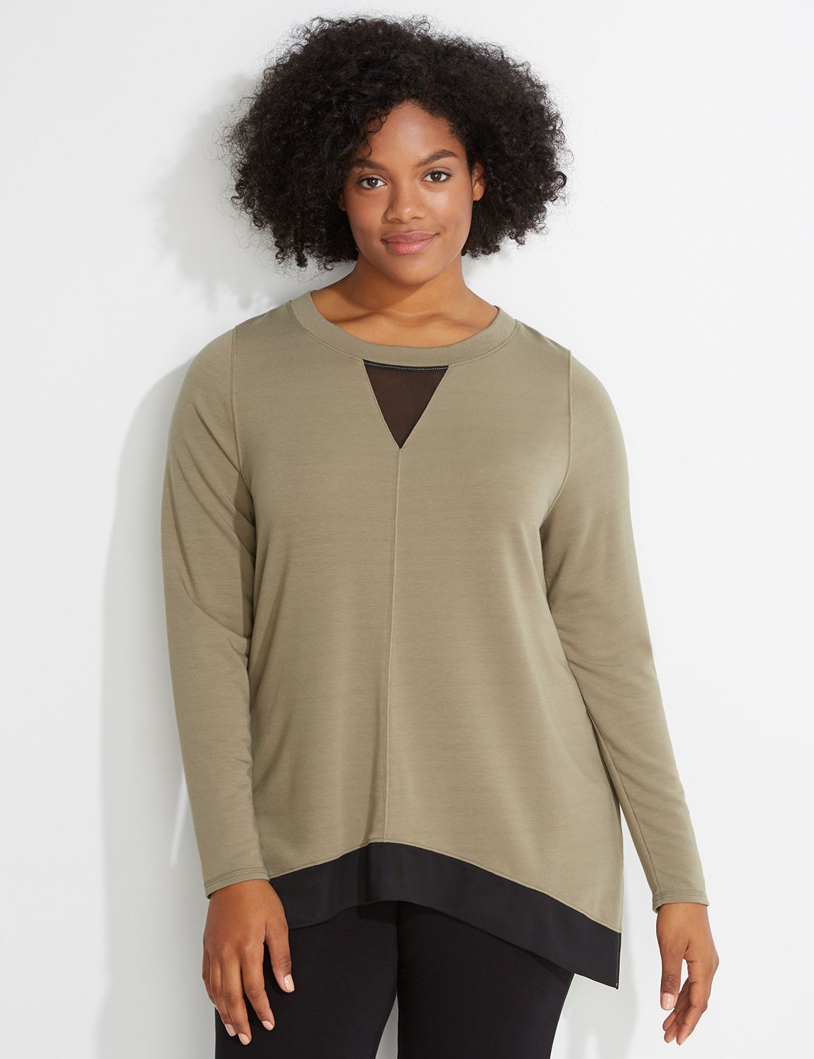 Lane Bryant Womens Spa Mesh-Hem Sweatshirt 26/28 Palmer Green