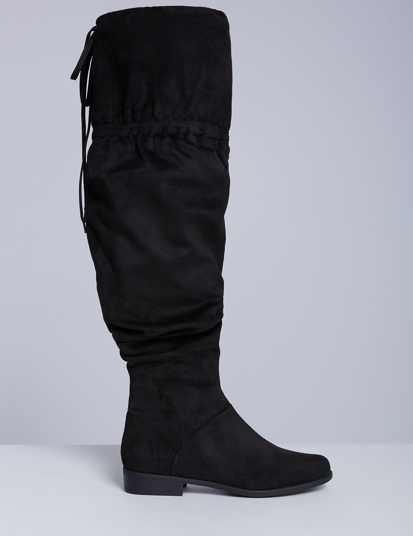 Lane Bryant Womens Flat Scrunch Over-The-Knee Boot 8W Black