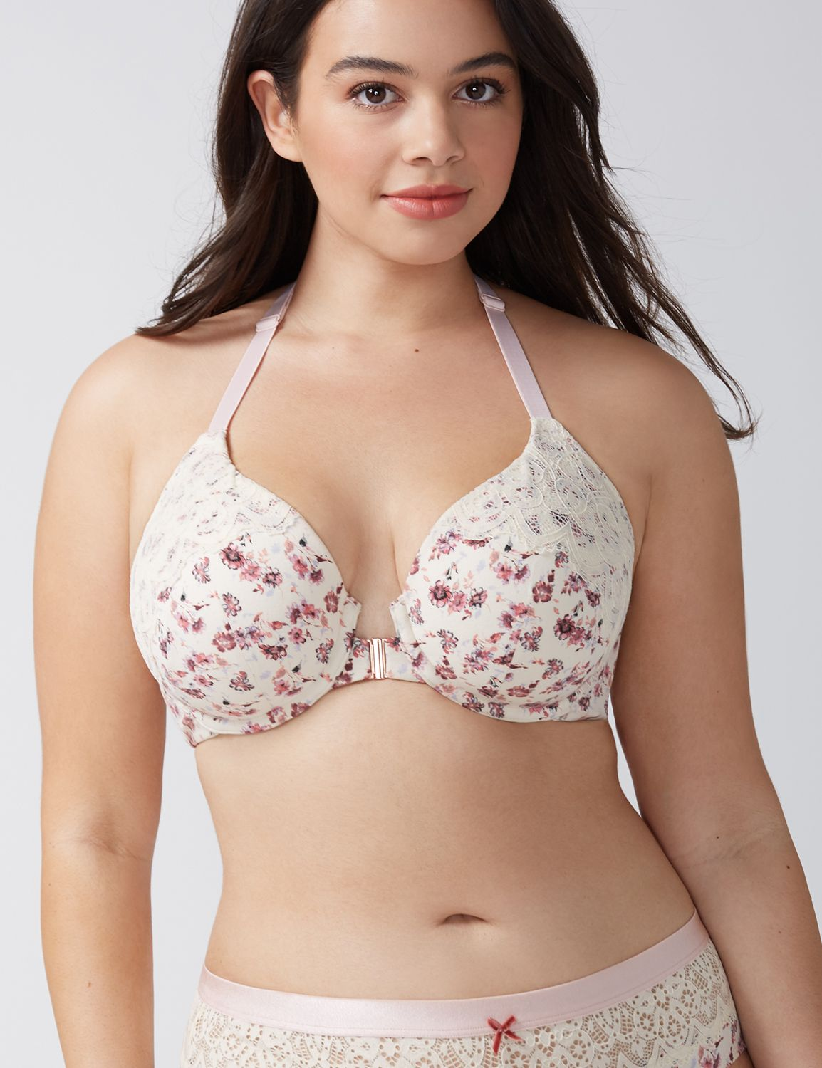 Lane Bryant Women's Cotton Lightly Lined T-Shirt Bra 38F Delicate Floral