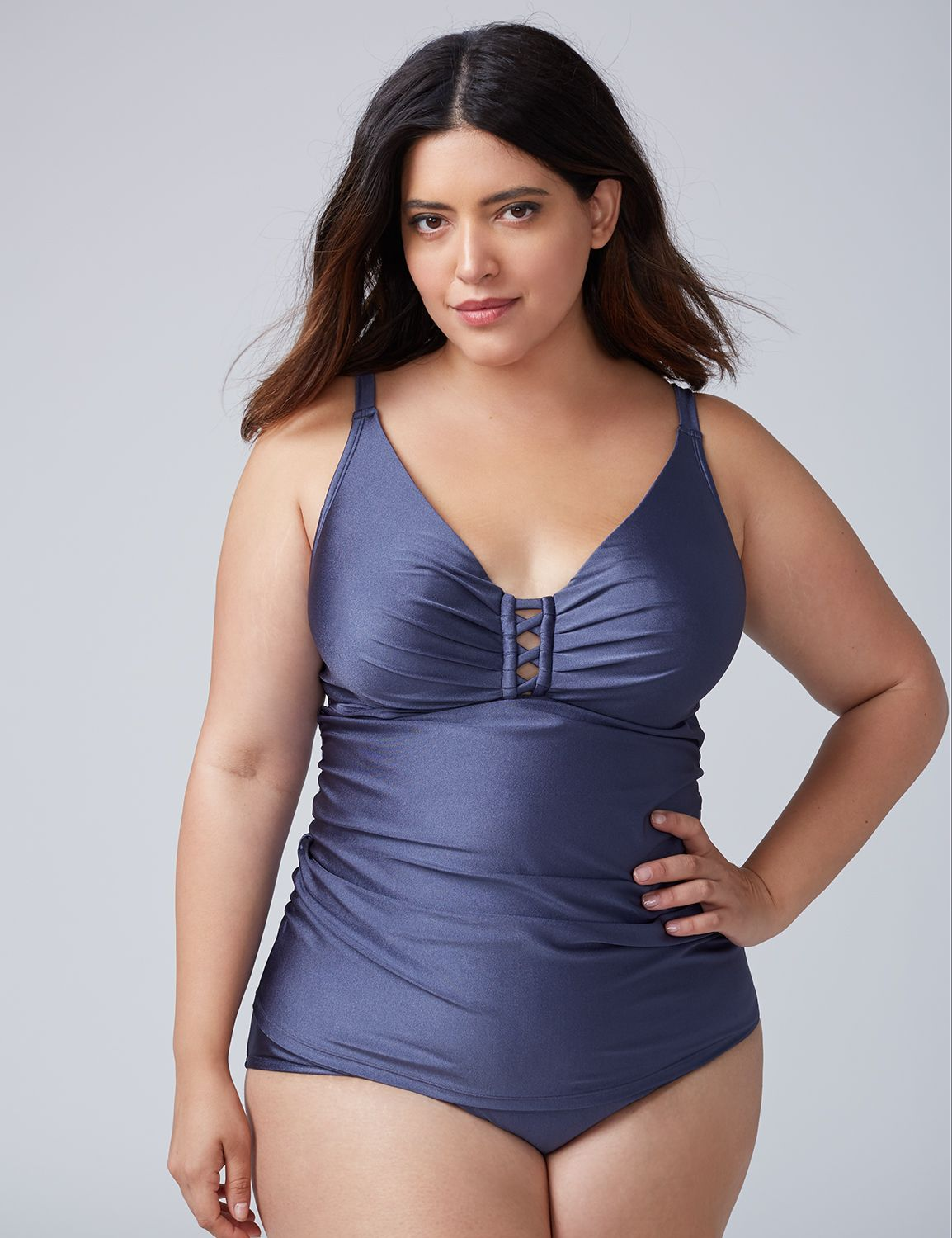 -Lane Bryant Women's Shimmer Criss-Cross Swim Tankini Top With Built-In Balconette Bra 46DDD Indigo