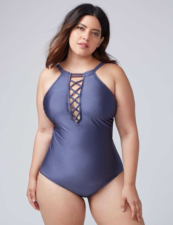 -Lane Bryant Women's Shimmer Swim One Piece With Criss-Cross Front 18 Indigo