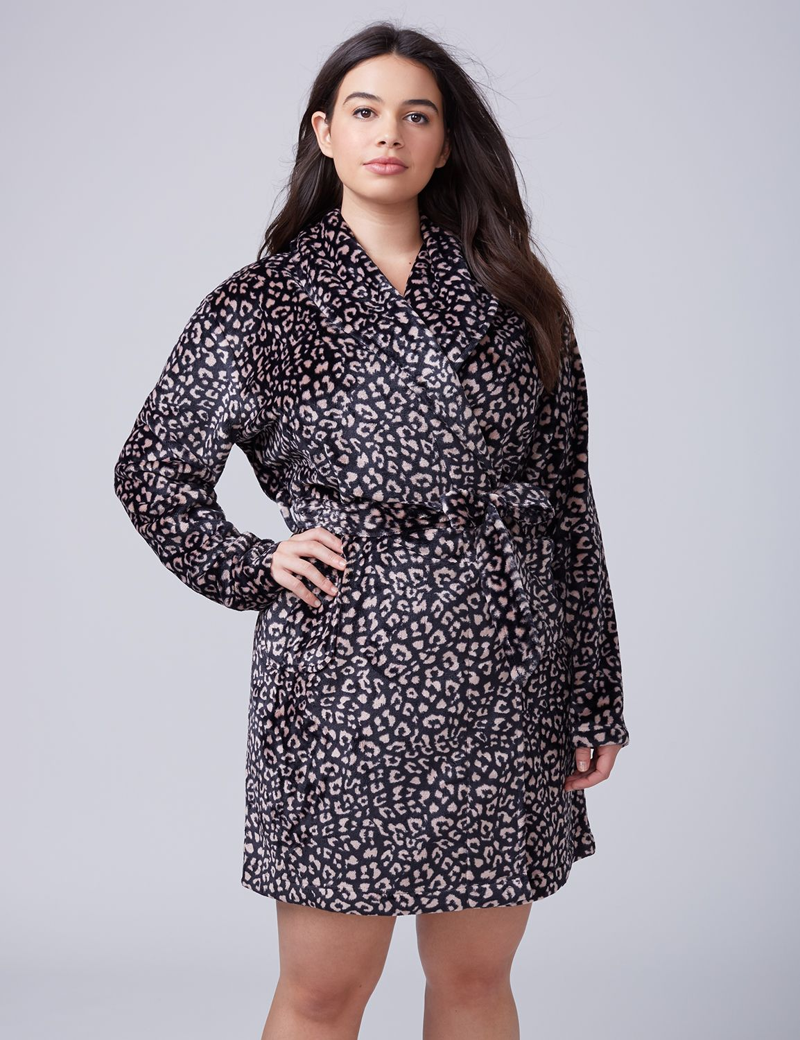 Lane Bryant Womens Printed Plush Robe 14/16 Quiet Animal